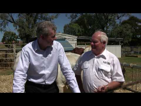 Minister Tony Burke speaking with Geoff Murphy about Beef Expo