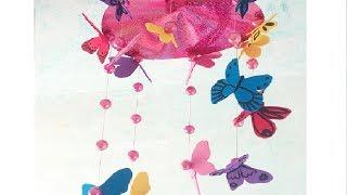 Manualidad: Cómo hacer un móvil infantil colgante con mariposas