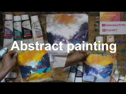 Simple Abstract painting techniques for beginners on fiber board – Abstract painting easy tutorial.