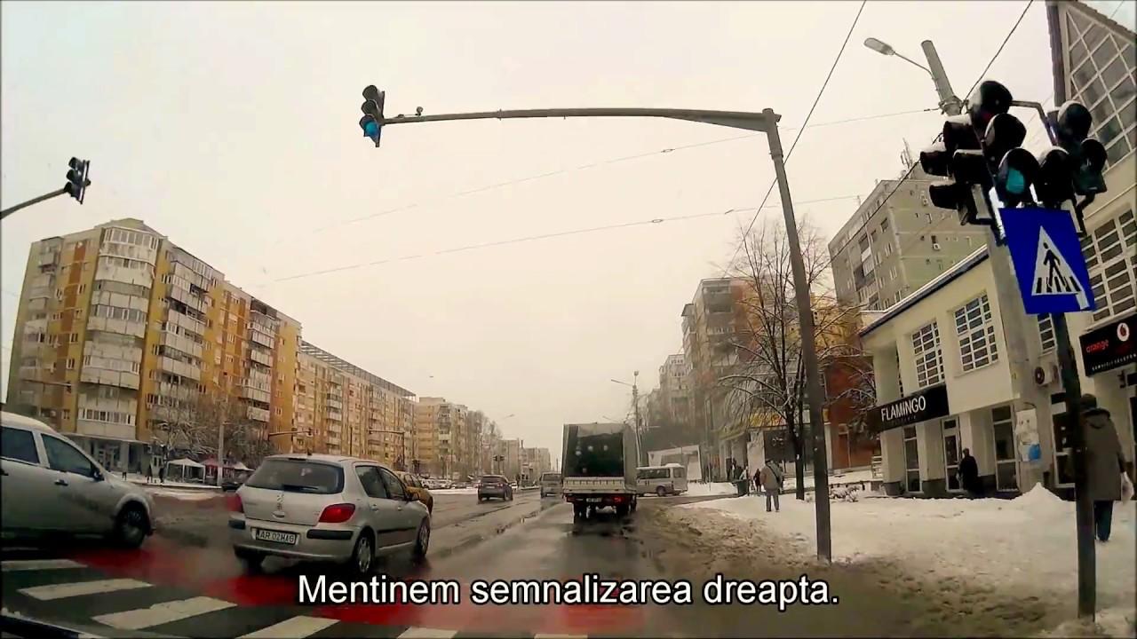Simulare traseu examen conducere auto - Arad - Ep. 13 - Conditii speciale de iarna