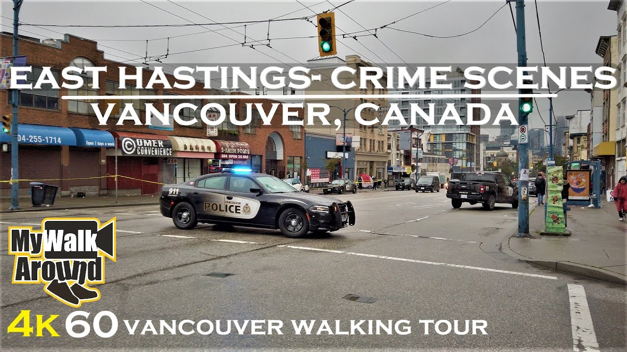 East Hastings Vancouver and crime scenes on a dreary rainy afternoon (4k video walk)