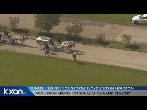 George Floyd's Casket Arrives At Cemetery In Horse-drawn Carriage