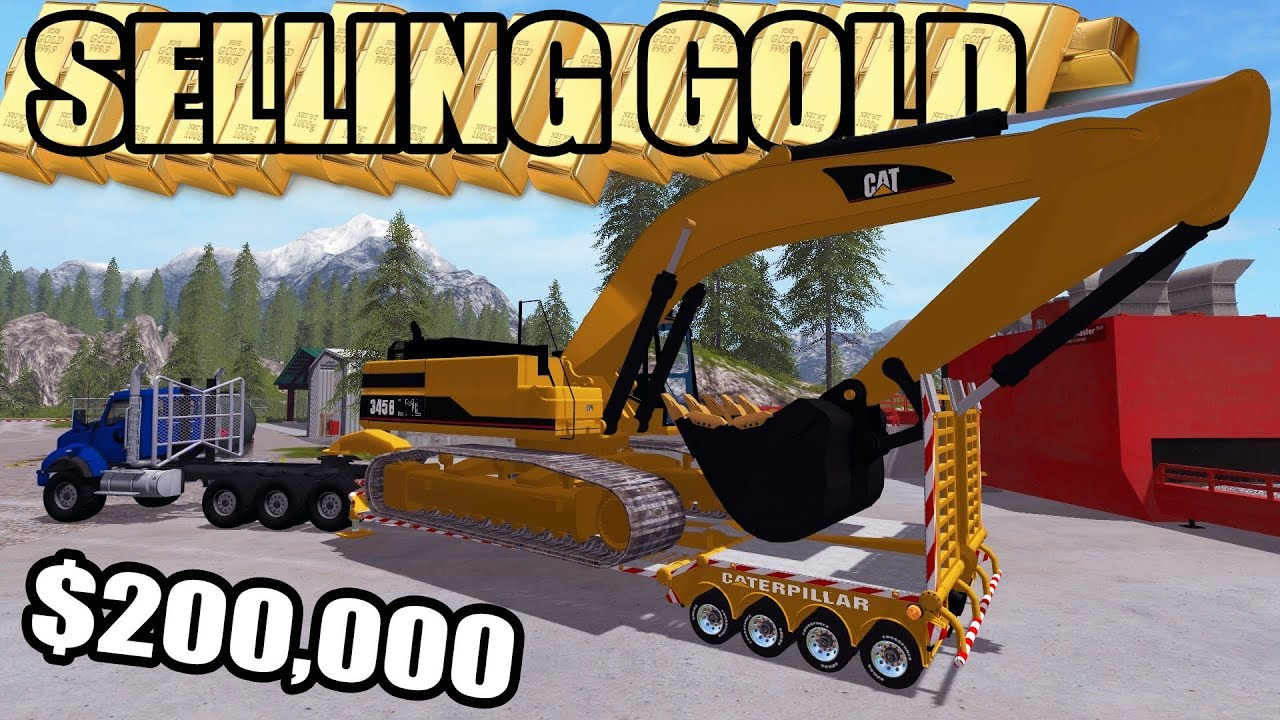 mining-simulator-2017-selling-200-000-worth-of-gold-new-cat-excavator