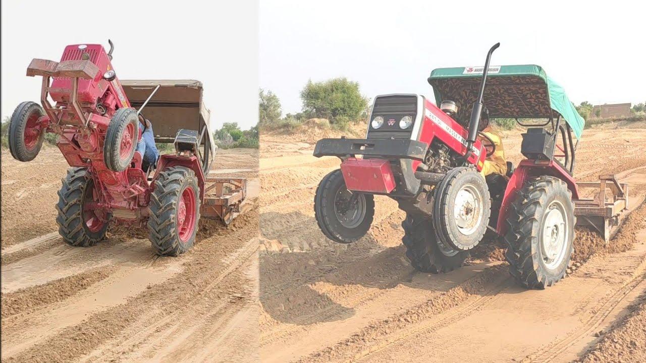 Swaraj 744 vs Massey Ferguson 241 vs Mahindra 575 Amazing Danger three  Tractor Stunt Video Village
