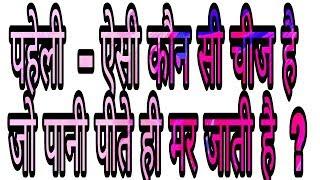 ऐसी कौन सी चीज है जो पानी पीते ही मर जाता है   मजेदार पहेलियाँ   Paheliyan in Hindi   पहेली बूझो