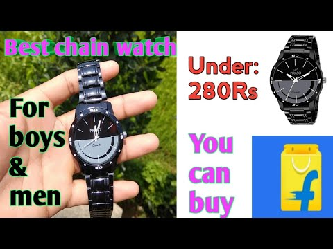 Best Black Chain Watch For Boys & Men/ Unboxing & Review/under:-280Rs🔥/Krishan Shil KRS