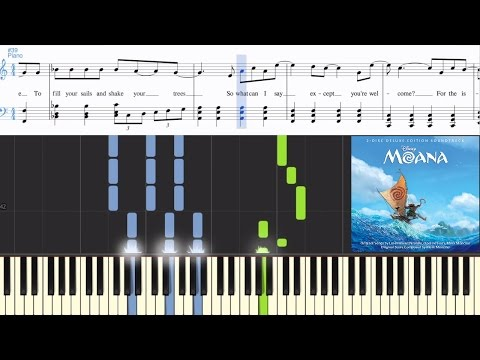 Dwayne Johnson - You're Welcome (from Moana) (Synthesia Piano Tutorial w/Lyrics)