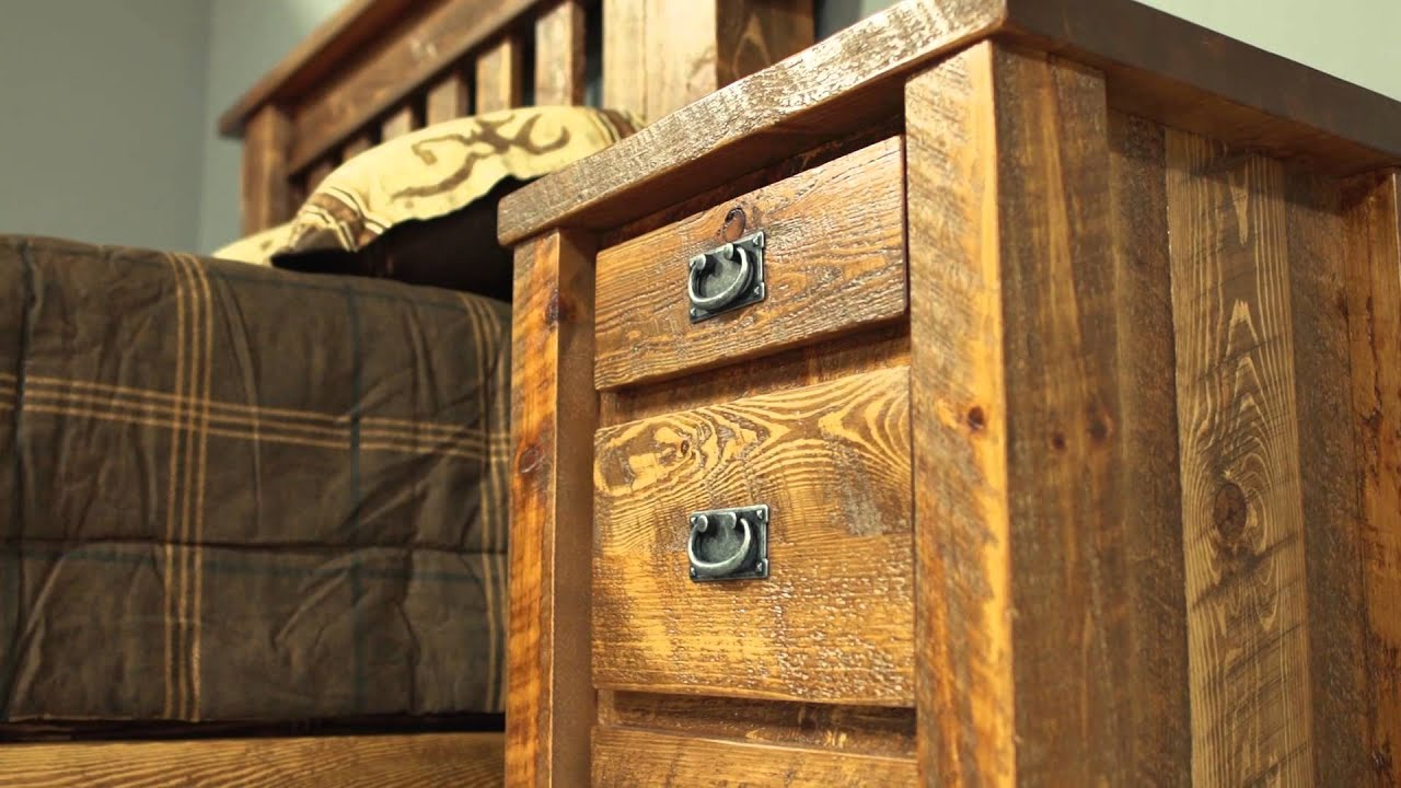 Barnwood Bedroom Furniture - Viking Log Furniture - YouTube