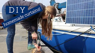 Easy DIY Curtains For Our 1/4 Berth // Beautify Blue Moon // Living On A Sailboat In Canada Ep. 16