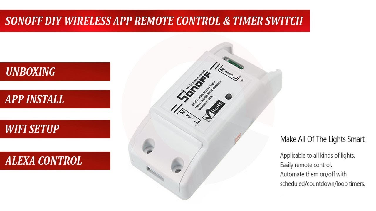 sonoff wifi wireless smart switch relay module installation and alexa  control setup