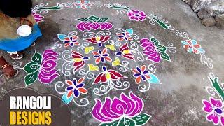 Latest Hand Made Rangoli Designs | HD Videos for Makara Sankranthi Festival By Latha Channel