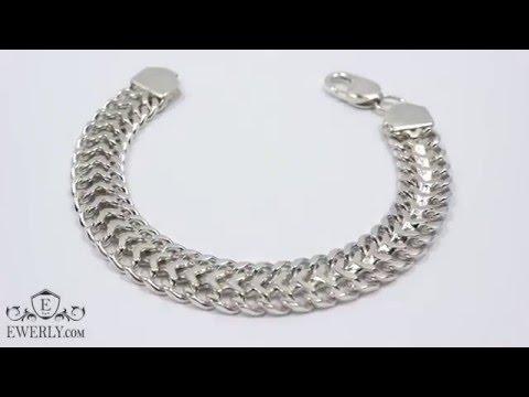 Плетение «Трактор (двойное панцирное)» - серебряный браслет на руку