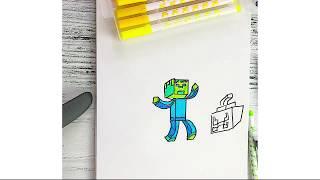 Как нарисовать Майнкрафт How to draw Minecraft