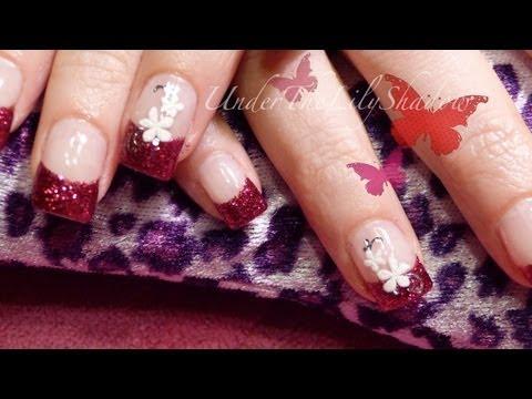 ☆★ Gel nails - Cherry red glitter ★☆