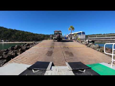 Fraser Island - River Heads To Kingfisher Bay Wharf Ferry With Camper Trailer