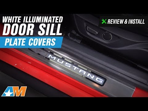 2015 2017 mustang white illuminated door sill plate covers for Sill plate definition