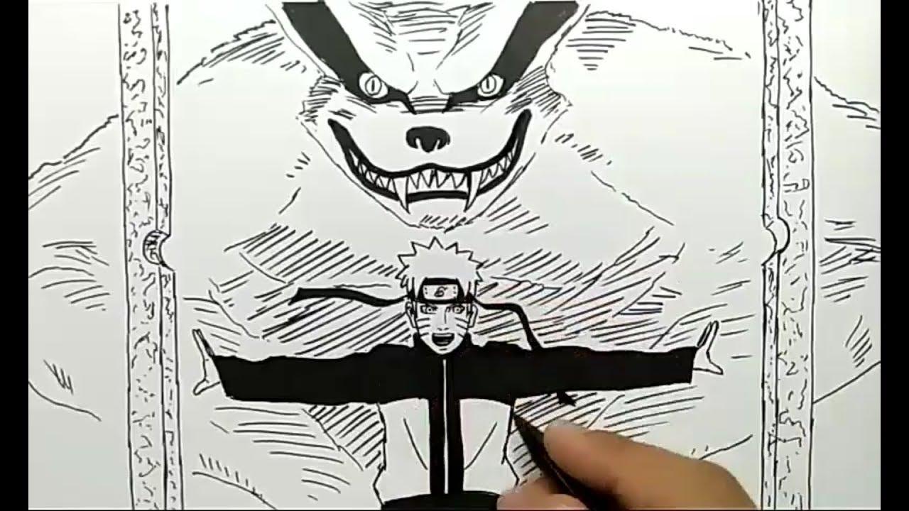 Cara Menggambar Naruto Dan Kurama Lansung Pakai Spidol Cepat Dan