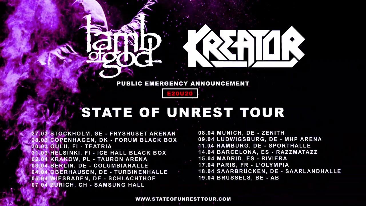 Lamb of God - State Of Unrest Tour 2020 w/ Kreator (EU/UK)