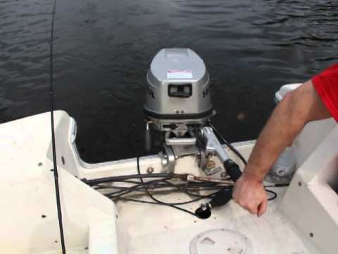 Honda 8hp 4 stroke outboard pushing an 18 foot fiberglass for Outboard motor for canoe
