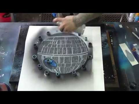 Death Star Rising Spray Paint Art By Markus Fussell