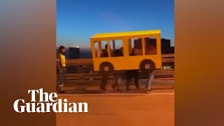 Eight-legged bus is caught trying to cross vehicle-only bridge in Russia