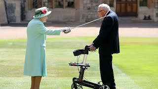 Captain Tom Moore knighted by The Queen at Windsor Castle