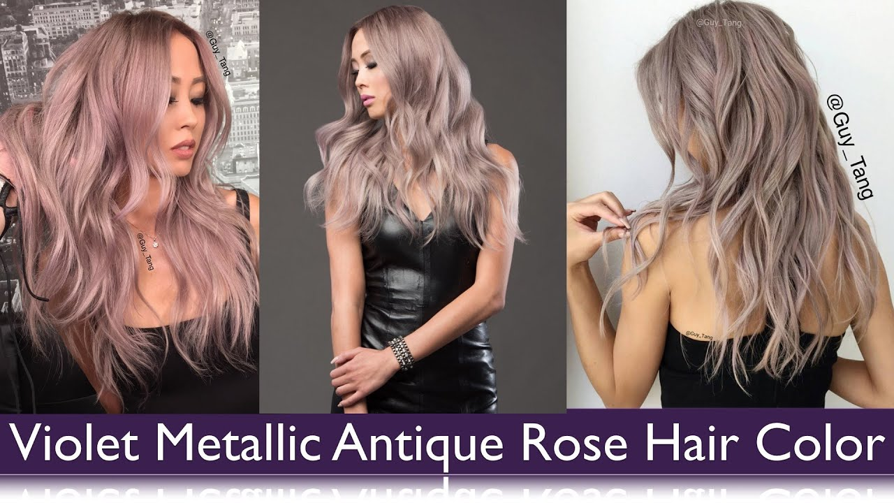 violet metallic antique rose hair