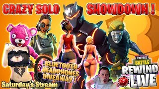 CrAzY SOLO SHOWDOWN 👩 FREE HEADPHONES Giveaway 💰 New SHOP ► Fortnite Battle Royale 🔴 Live RW