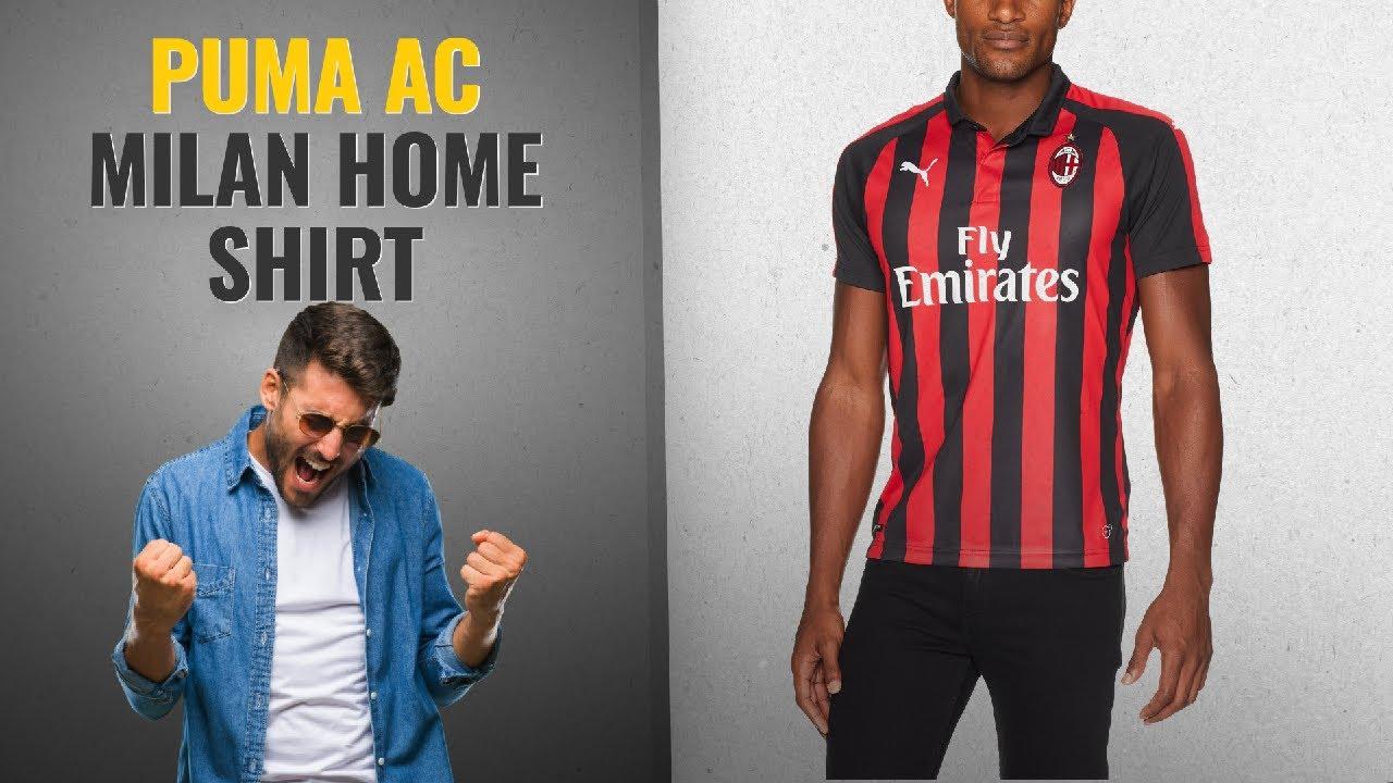 f4e22788b3abcf All New PUMA Men's Ac Milan Home Shirt Replica Ss With Sponsor Logo ...