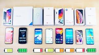 КТО ДОЛЬШЕ Xiaomi Mi 9, Redmi Note 7, iPhone XS, Samsung Galaxy A50, A70, Huawei P30 Pro, 6580 Mah