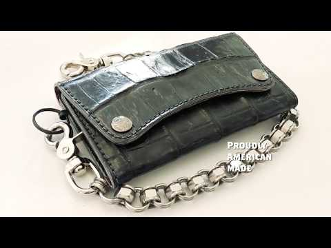 The Alligator Trucker Trifold Chain Wallet From Anvil Customs Leather