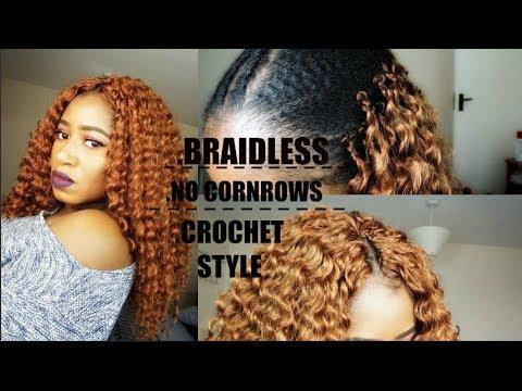 Braidless No Cornrows Crochet Style Youtube