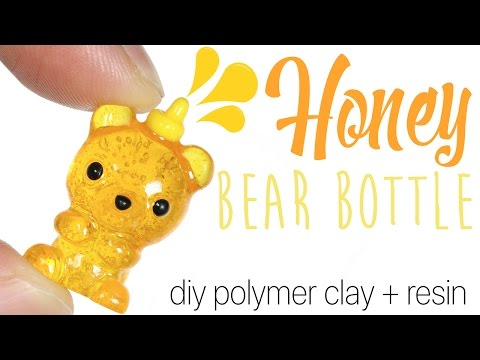 How to DIY Honey Bear Bottle Polymer clay Resin Tutorial
