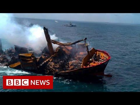 Chemical-filled X-Press Pearl ship threatens Sri Lankan marine life  - BBC News