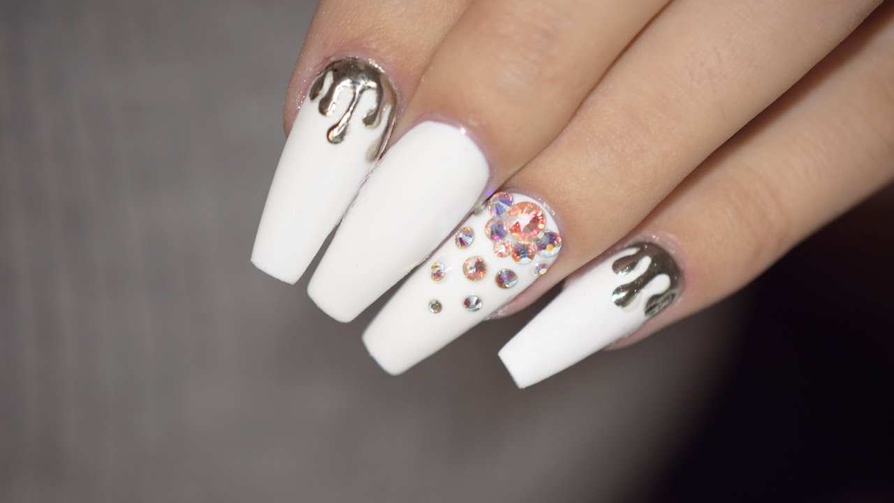 White Matte Nails with Chrome Drips & Swarovski | April Ryan | Red ...