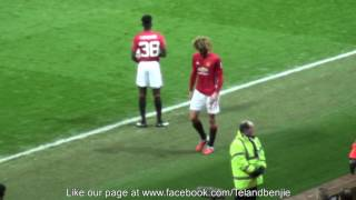 Manchester Fans Applaud Marouane Fellaini as he walks down the tunnel v Wigan