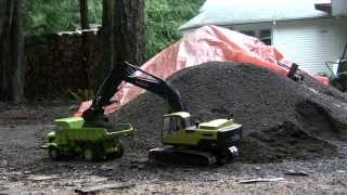 RC Excavator and Dump Truck Hauling Gravel