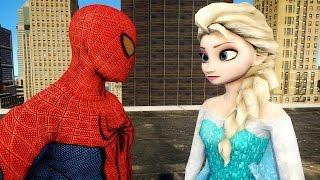 Spiderman vs Elsa Frozen   Spider man   Merry Christmas