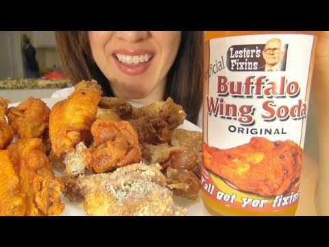 ASMR: Eating Chicken Wings | Buffalo Wing Soda | Wing Stop | *No Talking* With Annotations