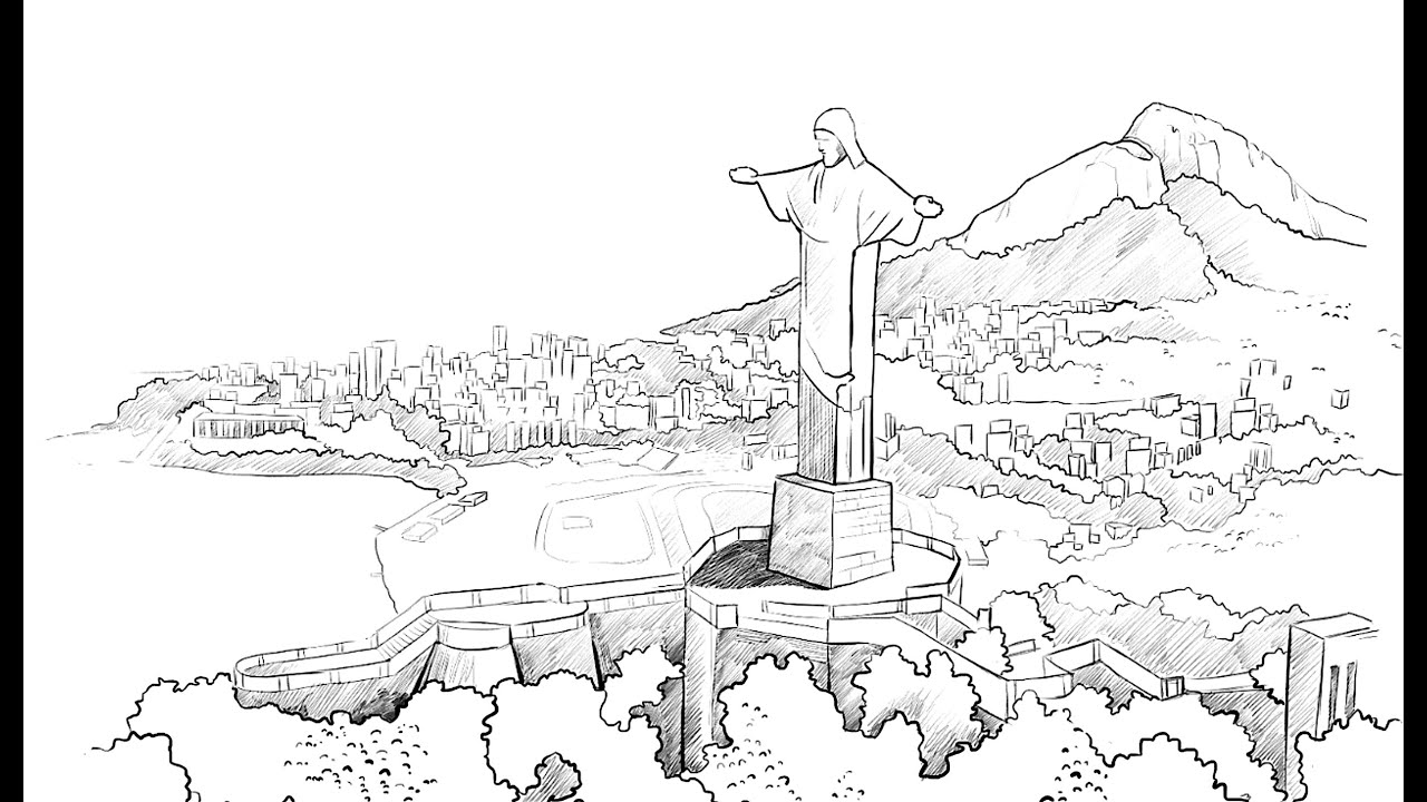 How to draw Christ the Redeemer   YouTube