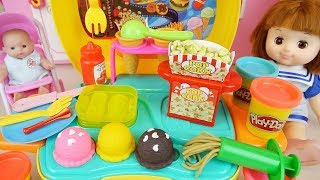 Play doh and baby doll kitchen cooking play