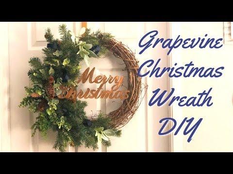 Christmas Wreath DIY   Grapevine  Christmas Wreath