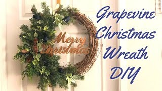 Christmas Wreath DIY | Grapevine  Christmas Wreath