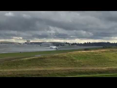 New Emirates plane taking off at Boeing Factory, Everett WA