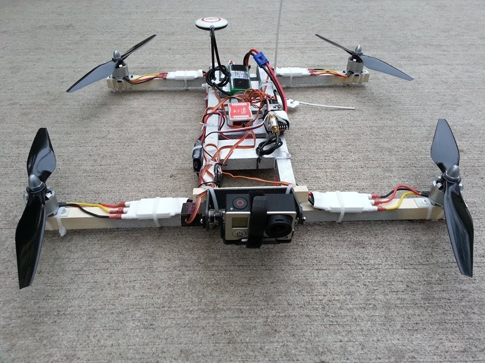 i4 quadcopter homemade wood frame with nazam gps