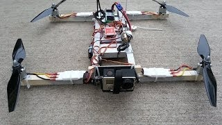 i4 Quadcopter, homemade wood frame with Naza-M + GPS, DragonLink
