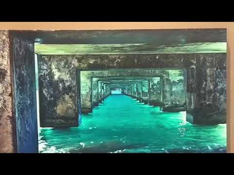 #4.Saoly Art . Beach Pier. Under Bridge Seaside Pier. Fingers Painting Acrylic Abstract Art.