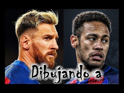 """Dibujando A Messi Y Neymar 2017 """"Speed Drawing"""""""