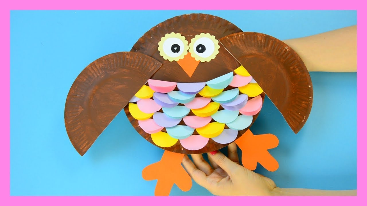 Owl paper plate craft for kids youtube for Paper plate craft images