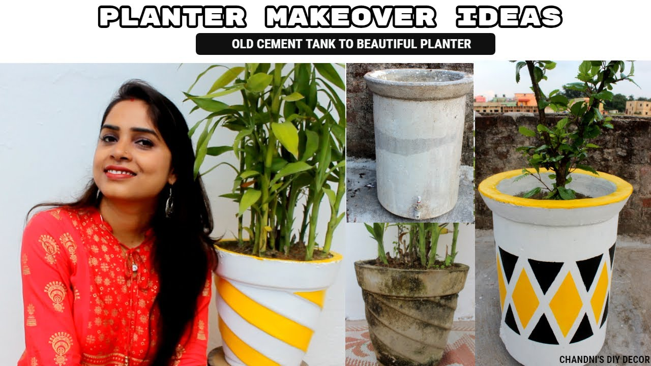 How I Converted An Old Cement Tank Into Beautiful Planter || Pot Painting Ideas || Trash To Treasure
